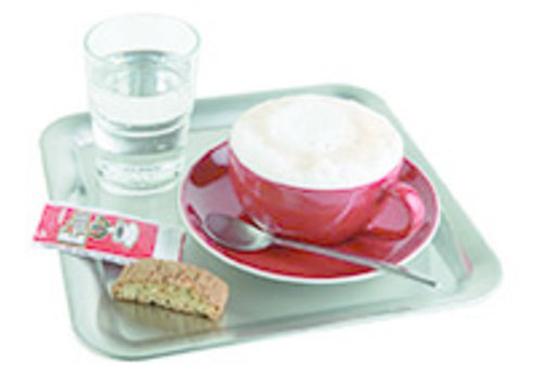 "APS-Germany Koffieserveerblad ""Kaffeehaus""   RVS   23 cm x 23 cm x H 1.5 cm   Mat"