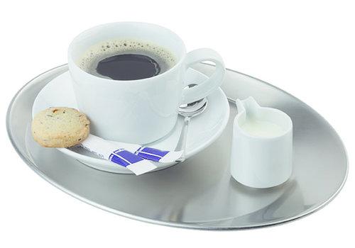 "APS-Germany Koffieserveerblad ""Kaffeehaus""   RVS   25.5 cm x 19.5 cm   Ovaal   Mat"