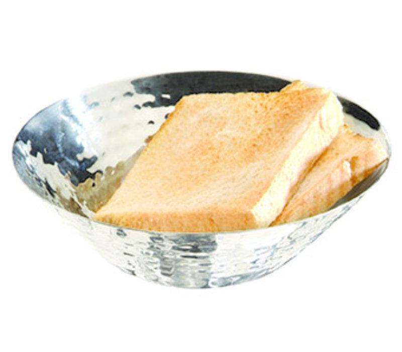 Brood- en/of fruitschaal   RVS   Ø 16 cm x 5 cm   Gehamerd   Hooglans gepolijst