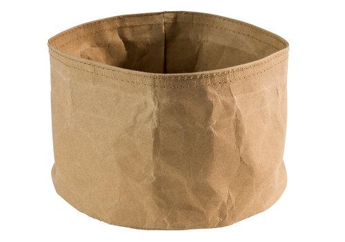 "APS-Germany Kraftpapier Broodmandje ""Paperbag"" | 70% natuurvezel 30% synthetisch | Ø 17 cm x H 11 cm | Design Kraftpapier | Beige"