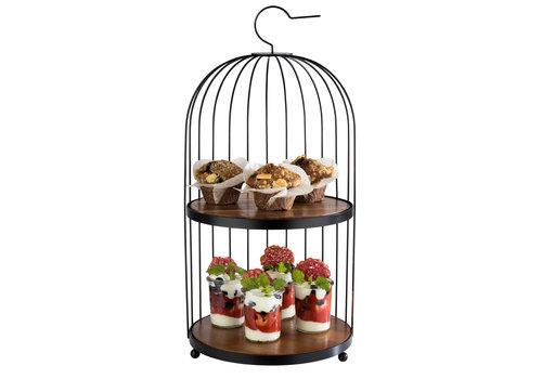 "APS-Germany Buffetstandaard ""Birdcage "" | Metaal Hout | Ø 26 cm x 54 cm | 2 Acacia serveerplateaus Ø 25 cm x H 1 cm | Zwart"