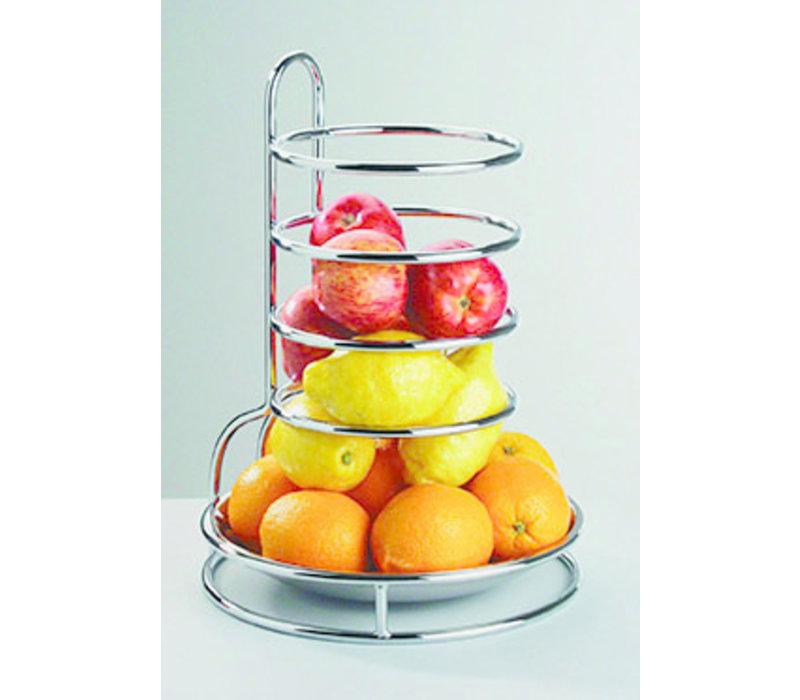 "Etagère ""Fruits Buffet""   Metaal RVS   Ø 27.5 cm x H 32 cm   RVS Schaal verwijderbaar   Verchroomd"