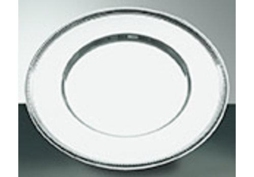"APS-Germany Onderbord | RVS | Ø 30.5 cm | Met ""parel"" decorrand | Hoogglans gepolijst"