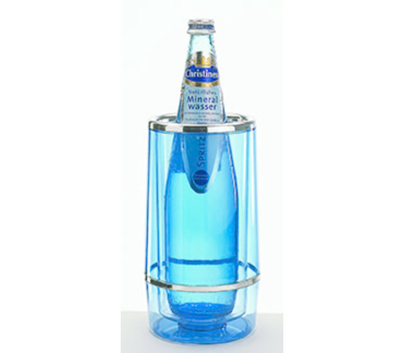 Flessenkoeler   PS   Ø 12/10 cm x H 23 cm   Dubbelwandig   Blauw/Transparant