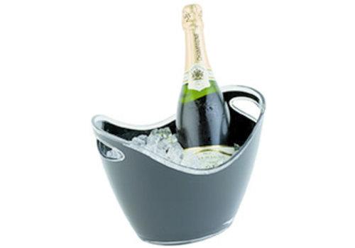 APS-Germany Wijn en/of champagnekoeler | MS | 27 cm x 20 cm x H 21 cm | 3 liter | Buiten Zwart/Binnen Transparant