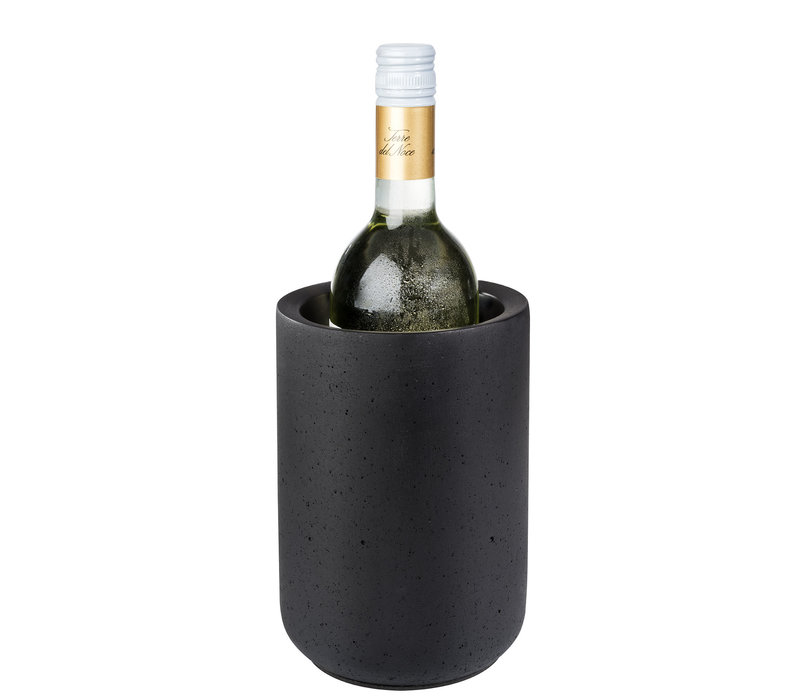 "Flessenkoeler ""Element Black"" | Beton | Ø 12/10 cm x H 19 cm | Zwart"