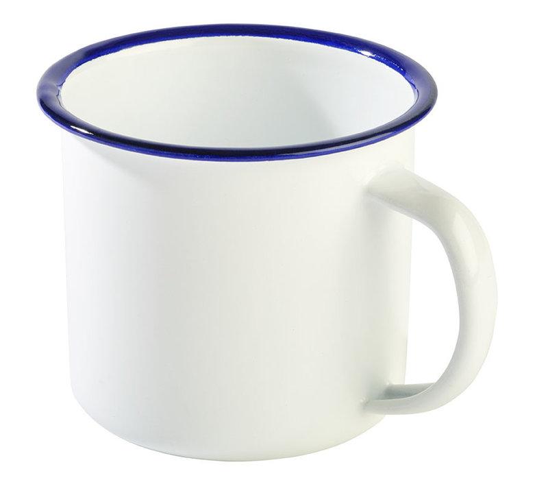 "Beker ""Enamelware"" | Emaille | Ø 9 cm x H 8 cm | 0.35 liter | Wit/Blauw"