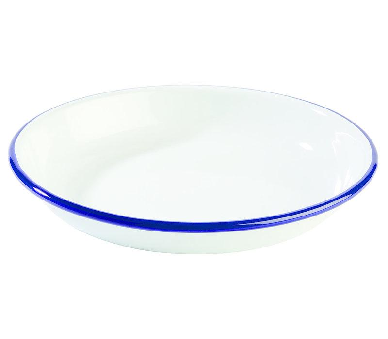 "Diep bord ""Enamelware""   Emaille   Ø 18 cm x H 3.5 cm   Wit/Blauw"