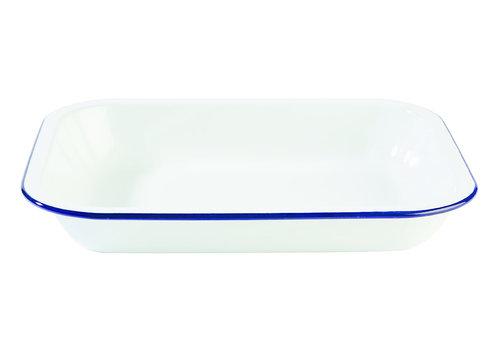 "APS-Germany Schaal ""Enamelware"" | Emaille | 28 cm x 23 cm x H 4.5 cm | 1.90 liter Wit/Blauw"