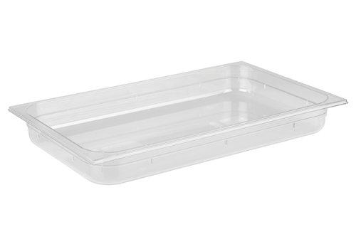 APS-Germany GN container   1/1 GN   Polycarbonaat   53 cm x 32.5 cm x H 6.5 cm   8.50 liter   Transparant