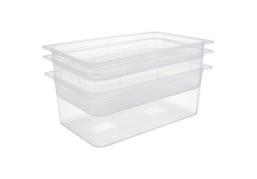 APS-Germany GN container | 1/1 GN | Polypropyleen | 53 cm x 32.5 cm x H 6.5 cm diep | 8.50 liter | Transparant