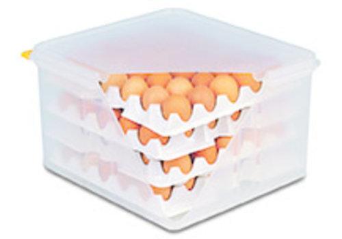 APS-Germany Eierbox met luchtdichte deksel   PE   Capaciteit 4 trays van 30 eieren   8 trays geleverd   35.4 cm x 32.5 x H 20
