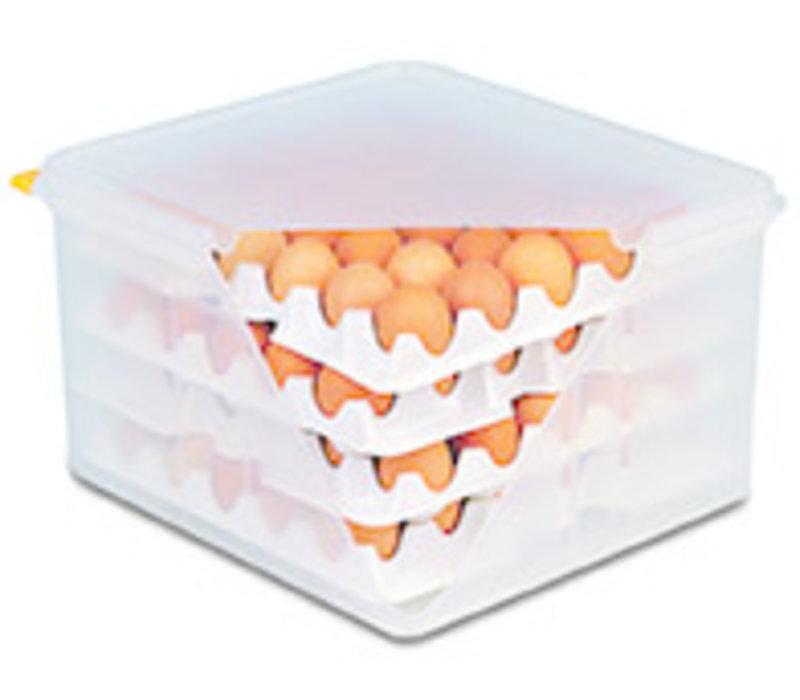 Eierbox met luchtdichte deksel | PE | Capaciteit 4 trays van 30 eieren | 8 trays geleverd | 35.4 cm x 32.5 x H 20