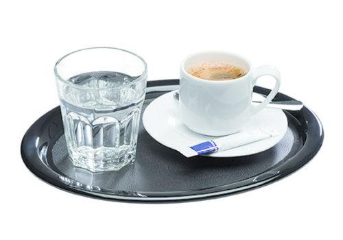 "APS-Germany Dienblad ""Kaffeehaus"" | Melamine | Ovaal | 26 cm x 20 cm x 1.5 cm | Zwart"