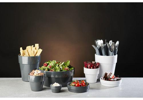 "APS-Germany Schaal ""Flower Pot"" | Melamine | Ø 20 cm x H 9 cm | 1.80 liter | Antraciet"