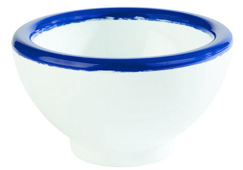 "APS-Germany Schaaltje ""Emaille Look"" | Melamine| Ø 5.5 cm x H 4 cm | 0.02 liter | Wit met Blauwe rand"