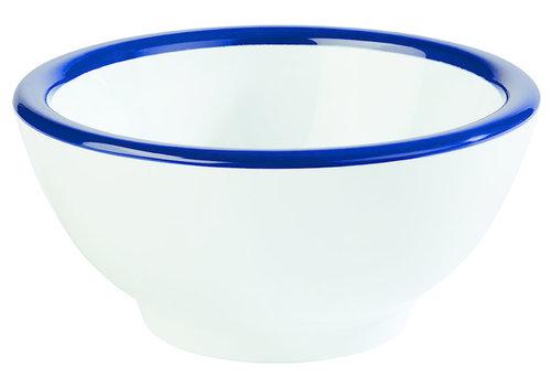 "APS-Germany Schaaltje ""Emaille Look"" | Melamine | Ø 13 cm x H 6.5 cm | 0.30 liter | Wit met Blauwe rand"