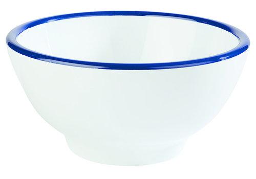 "APS-Germany Schaal ""Emaille Look"" | Melamine | Ø 20 cm x H 10.5 cm | 1.25 liter | Wit met Blauwe rand"