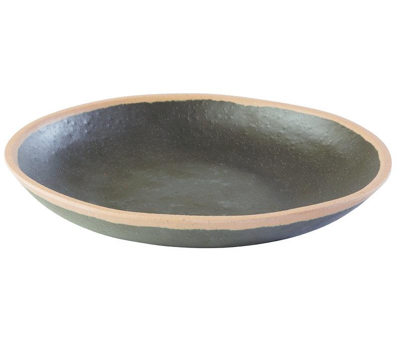 "Bord ""Crocker""   Melamine   Ø 20. 5 cm x H 3 cm   0.50 liter   Zwart met Beige rand"