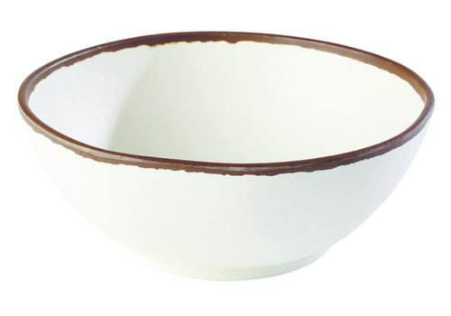 "APS-Germany Schaal ""Crocker""   Melamine   Ø 21 cm x H 8 cm   1.45 liter   Wit met Bruine rand"