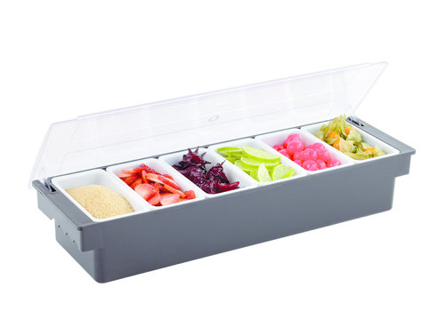 APS-Germany Fruitdispenser Bar   PP ABS PC   50 cm x 16 cm x H 10 cm   6-vaks   Zwart