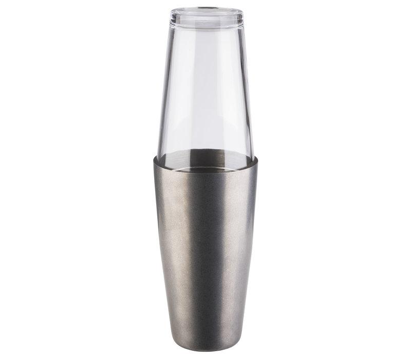 """Cocktailshakerset """"Boston""""   2-delig   Shaker Ø 9 cm x 30 cm    Glas 0.40 liter   RVS Shaker 0.70 liter   Mat RVS"""