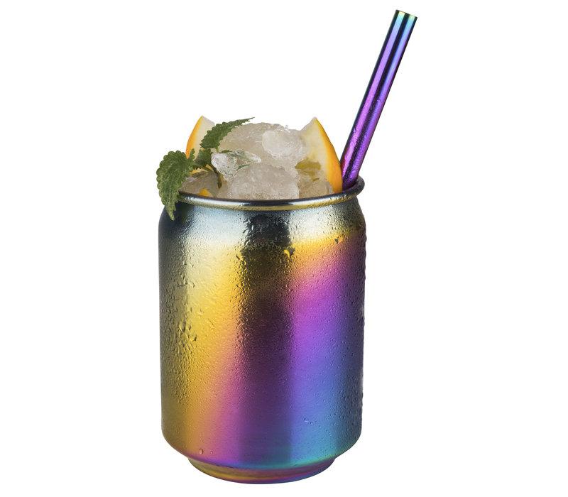 "Drinkbeker ""Cool""   RVS   Ø 7.5 cm x H 10.5 cm   0.35 liter   Regenboogkleurig"
