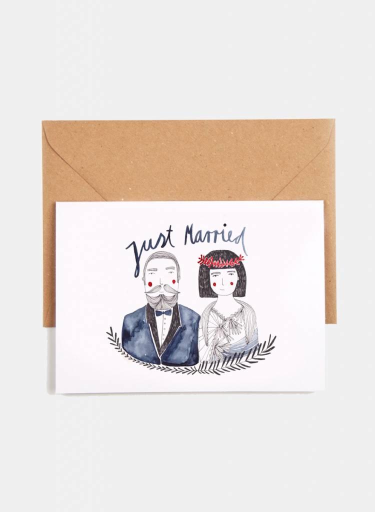 """Gretas Schwester Klappkarte """"Just married"""" - Handillustrierte Hochzeitskarte"""