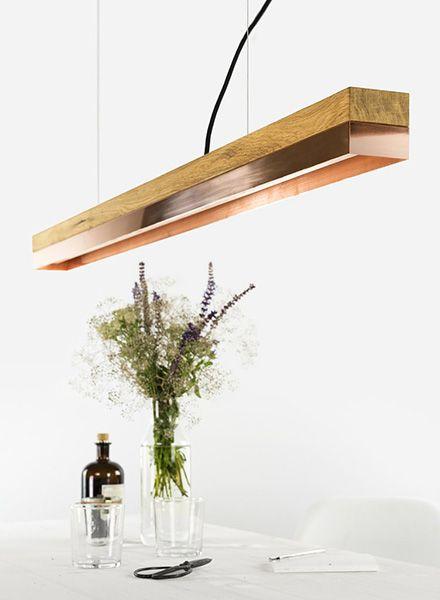 GANTlights Gantlights Hängelampe [C1] - Pendelleuchte mit Körper aus Eichenholz, ideal für jeden Ess- oder Konferenztisch