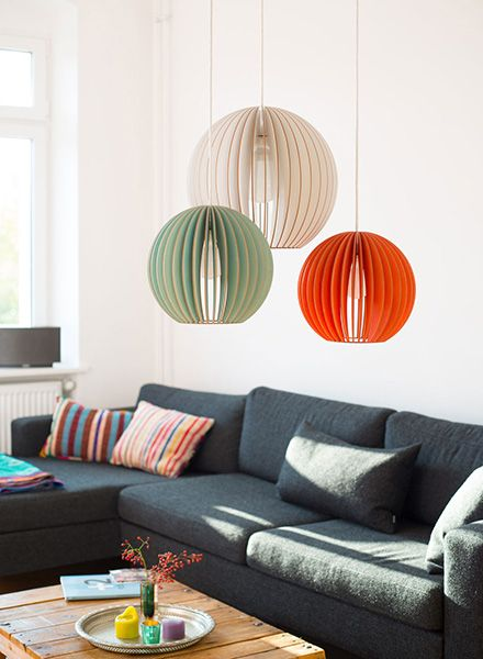 """IUMI Pendant lamp """"Aion L"""" - made of birch plywood in 6 colours"""
