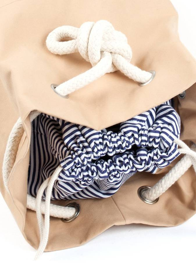 """Marin et Marine Backpack """"rainbag"""" nude - made of sturdy, water and dirt resistent cotton"""