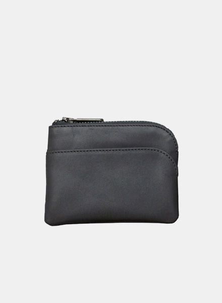 """Coudre Berlin Purse """"Coin"""" Black - Made of soft leather with zipper"""