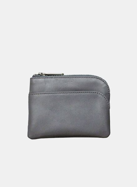 "Coudre Berlin Purse ""Coin"" Gray - Made of soft leather with zipper"