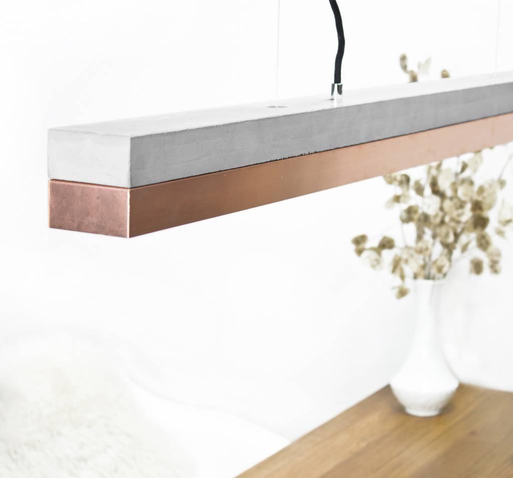 GANTlights Gantlights Deckenleuchte [C1] - Pendellampe mit Körper aus hellgrauem Beton und Lampenschirm aus Kupfer