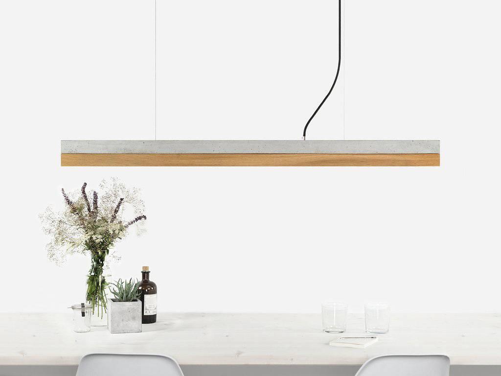 GANTlights Gantlights concrete lamp [C1] - Pendant light with light grey concrete body and lampshade made of oak