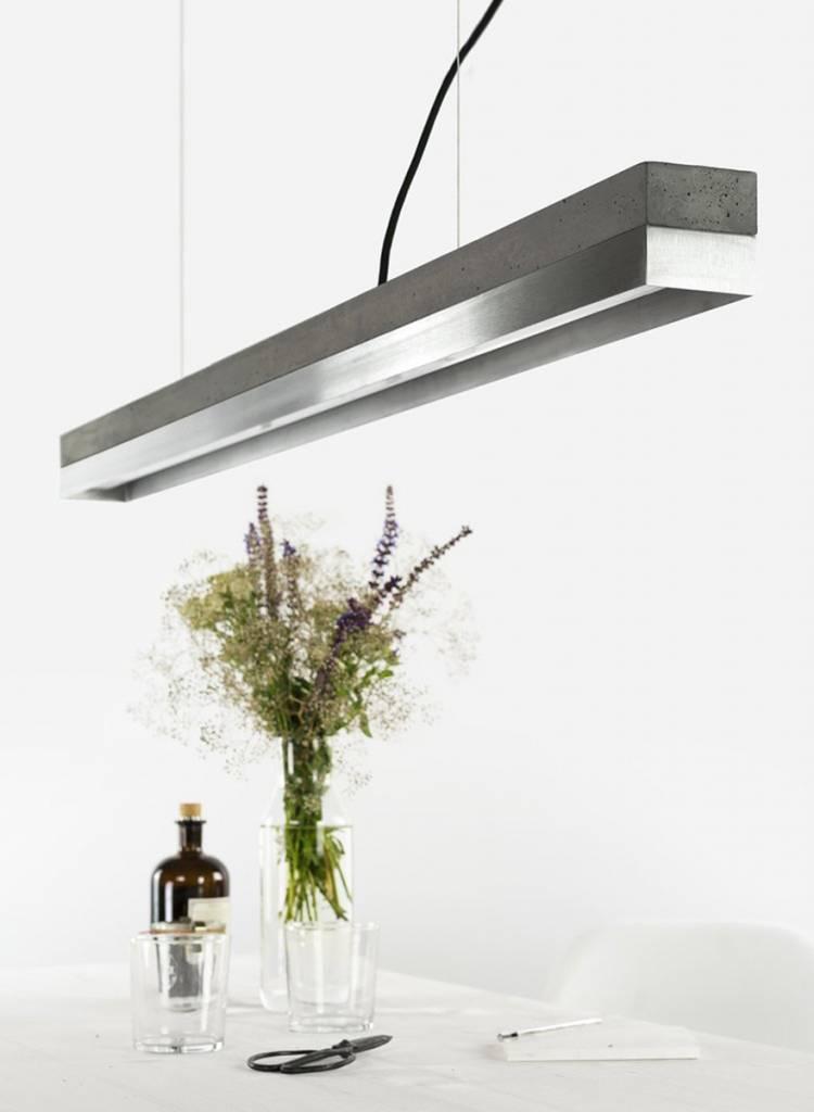 GANTlights Gantlights pendant lamp [C1] dark - Pendant light with dark grey concrete body and lampshade made of stainless steel