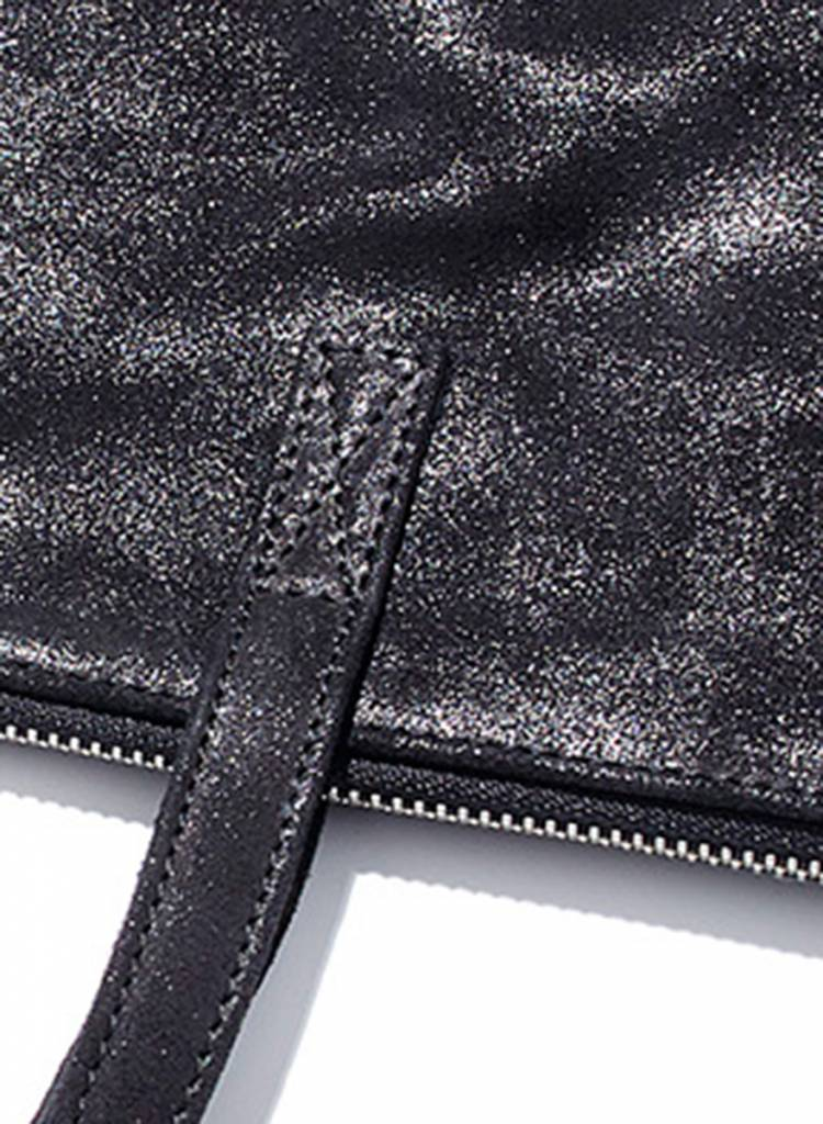 "Matke Leather Bag ""Starlight Tote bag"" black with glitter finish"