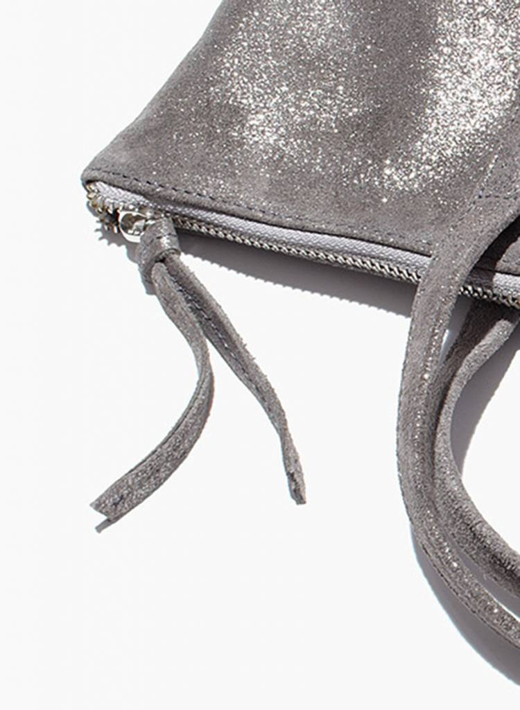 """Matke Leather Bag """"Starlight Tote bag"""" silver with glitter finish"""