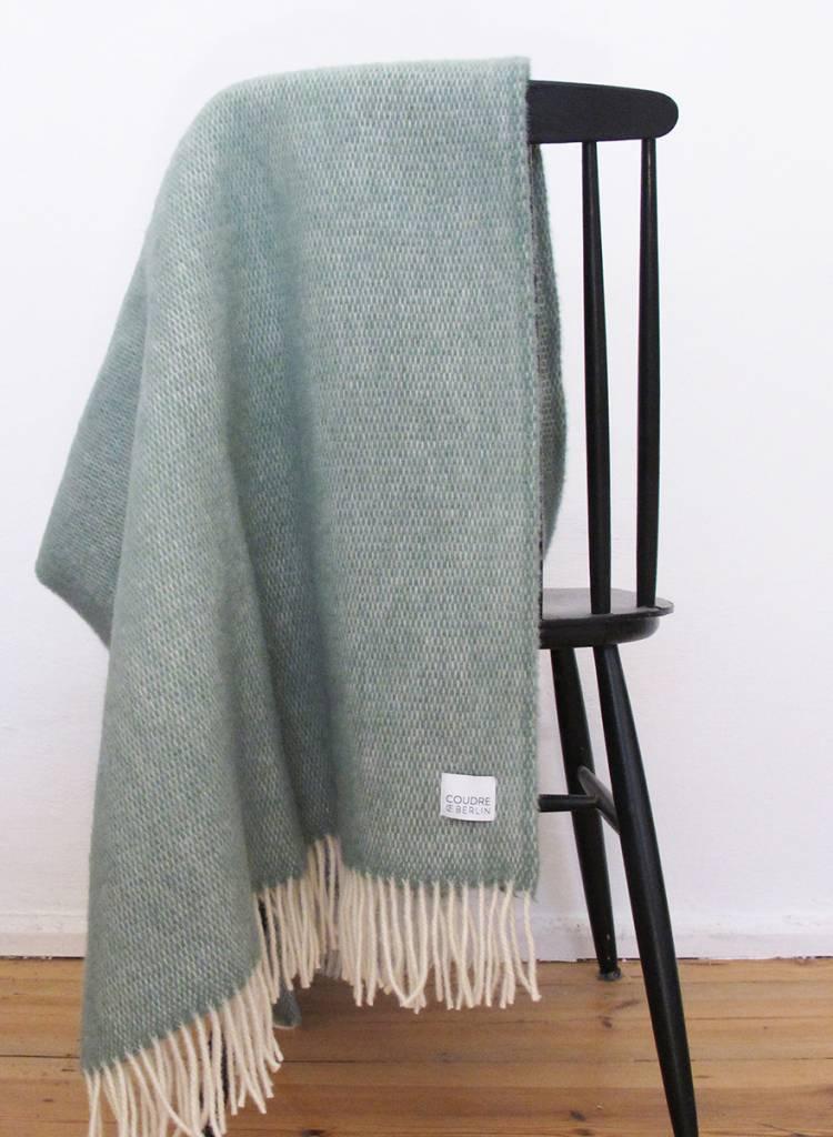 """Coudre Berlin Wolldecke """"Pick Stitch"""" Türkis  - weiche und kuschelige Decke aus 100% Wolle"""