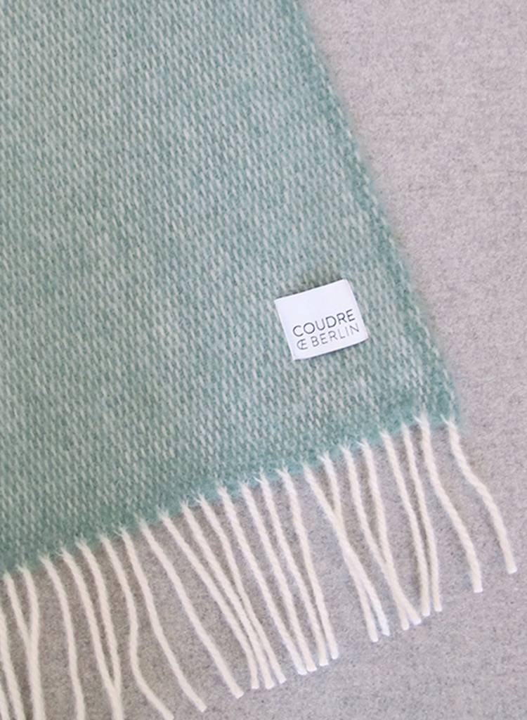 """Coudre Berlin Blanket """"Pick Stitch"""" Greenstone - Cosy and warm throw made of 100% wool"""