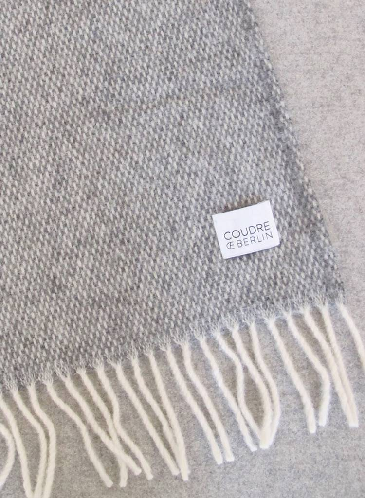 """Coudre Berlin Blanket """"Pick Stitch"""" Grey- Cosy and warm throw made of 100% wool"""