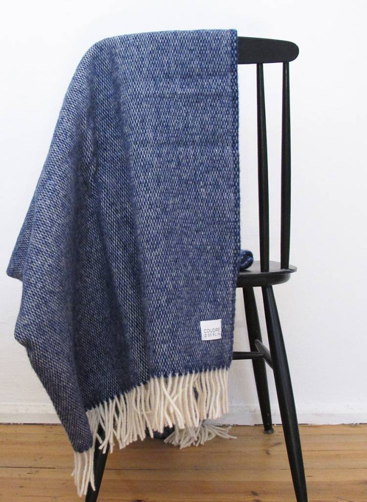 """Coudre Berlin Blanket """"Pick Stitch"""" Blue- Cosy and warm throw made of 100% wool"""