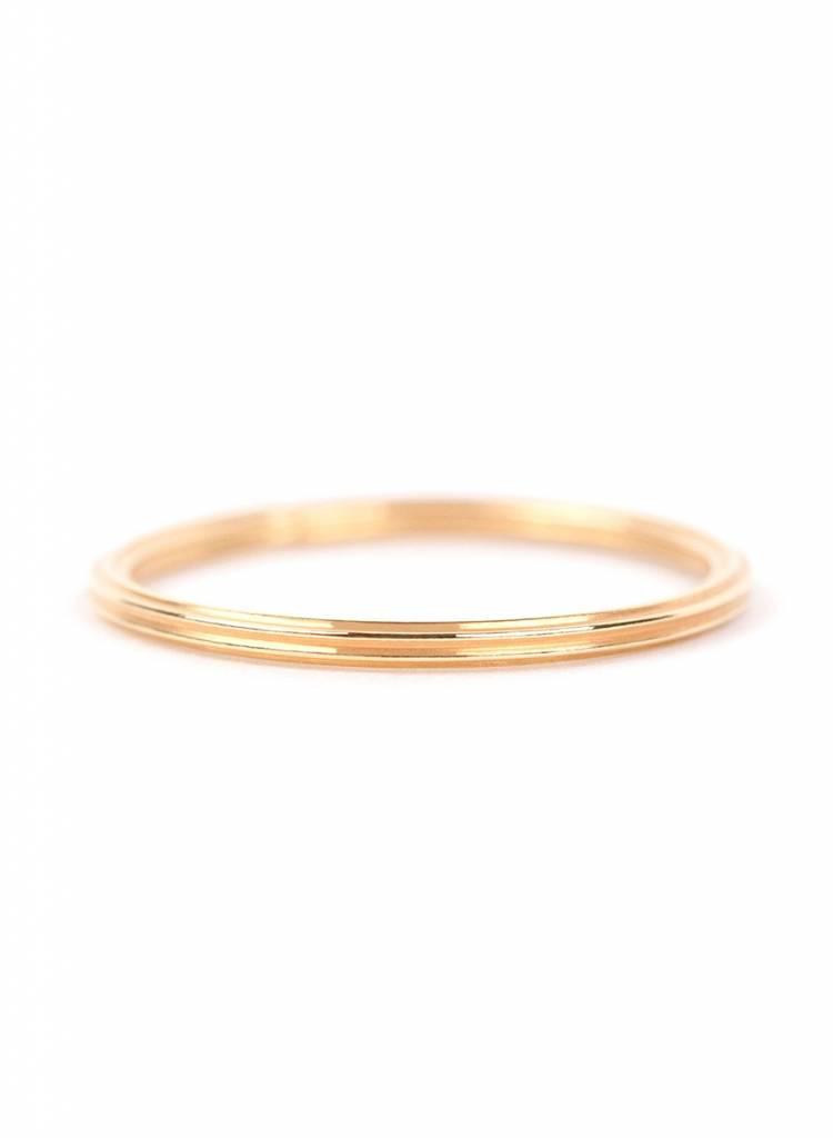"Jukserei Ring ""Rille"" Gold - handgefertigt aus vergoldetem 925er Sterling Silber"