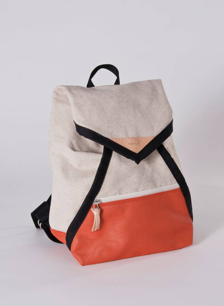 """Hänska Backpack """"Catamaran Rust Linen"""" - handmade in Berlin"""