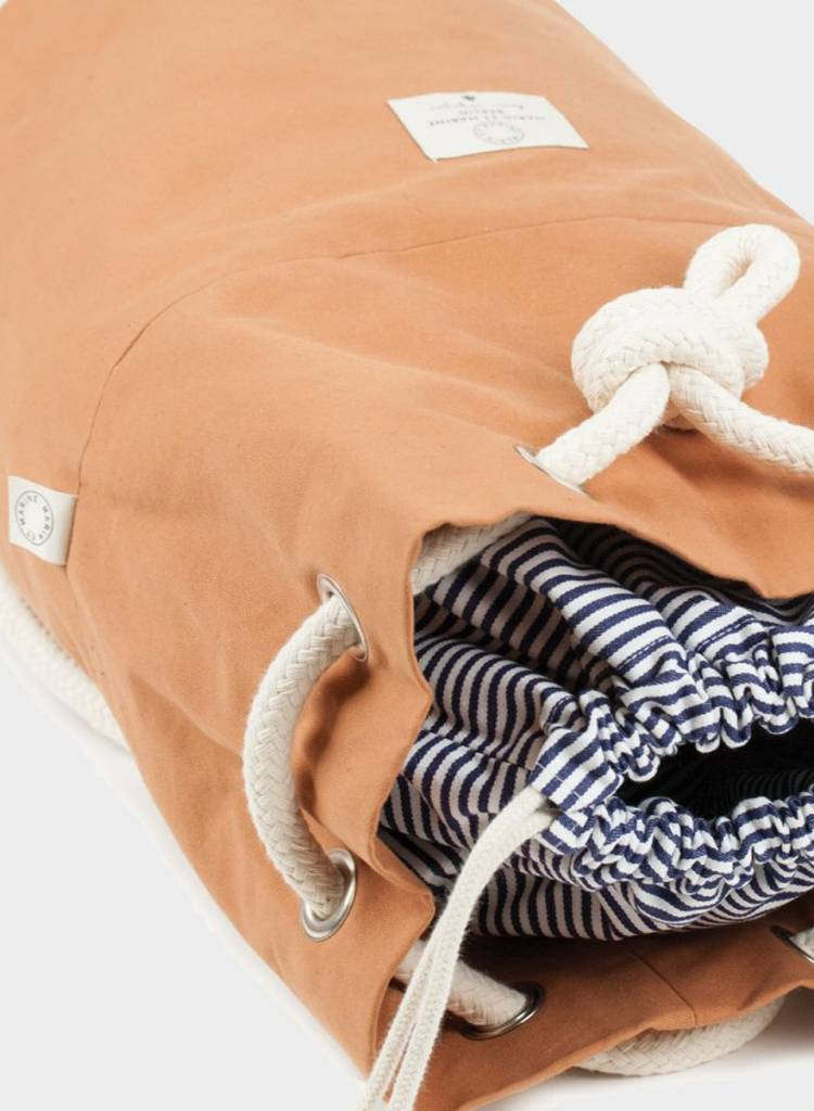 """Marin et Marine Backpack """"rainbag"""" caramel - made of sturdy, water and dirt resistent cotton"""