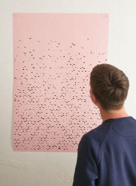 """Fundamental Poster """"VOGEL"""" Siebdruck auf matt rosa Papier"""