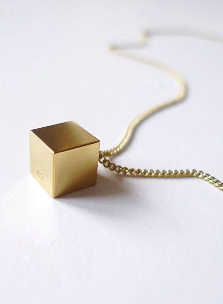 """Felicious Halskette """"Cube"""" - Rundpanzerkette mit Würfel-Anhänger"""