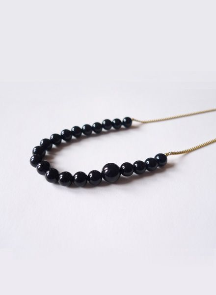 """Felicious Necklace """"Balls gold"""" - 925 silver plated with 750 Gold and Onyx pearls"""