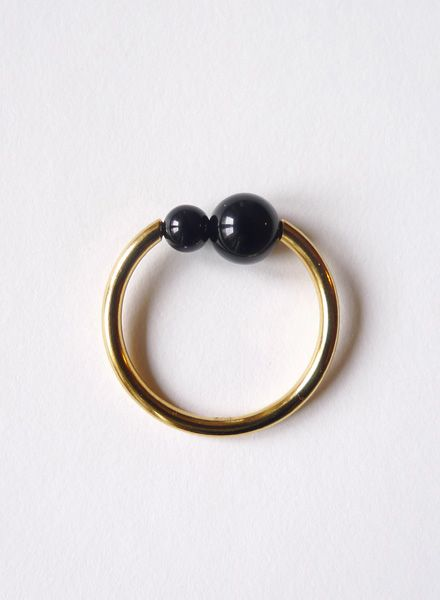 """Felicious Fingerring """"Balls Gold"""" - 925 silver ring plated with 750 Gold"""