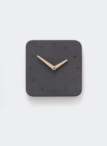 WertWerke Concrete Clock Classic S anthracite I with wooden needle filled 20x20cm